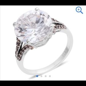 Simulated white sapphire ring